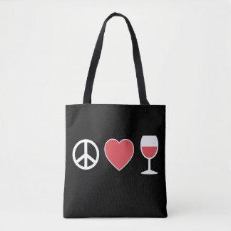 Frieden u. Liebe u. Wein Tasche