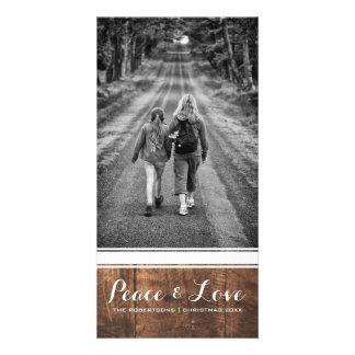 Frieden u. Liebe - WeihnachtsFoto-hölzerner weißer Karte
