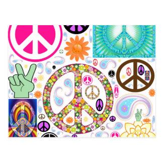Frieden u. Paisley-Collage Postkarten