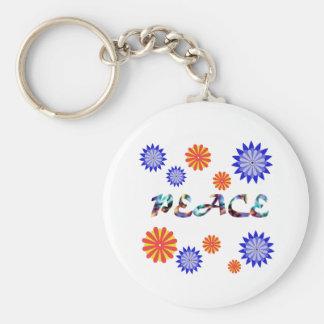 Frieden und Blumen-Schlüsselkette Standard Runder Schlüsselanhänger