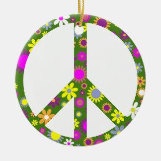 Frieden und Liebe Rundes Keramik Ornament