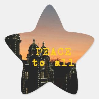 Frieden zu allen - Moscheen mit Lichtern Stern-Aufkleber