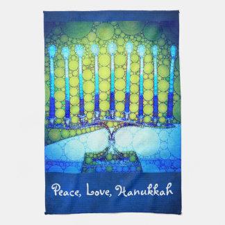 """Friedens-, Liebe-, Chanukkas"" blaues u. grünes Geschirrtuch"