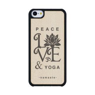 """""""Friedens-, Liebe-u. Yoga-"""" Ahorn hölzerner iPhone"""