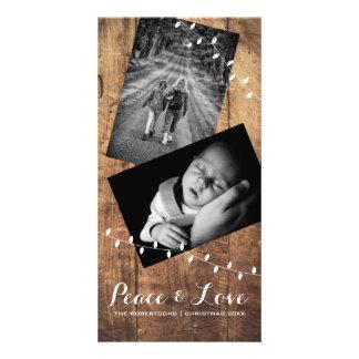 Friedens-u. Liebe-WeihnachtsFoto-Holz-Lichter Karte