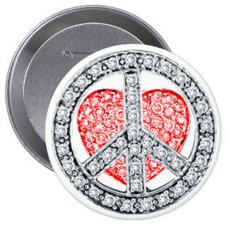 FRIEDENS- und LIEBE Knopf Runder Button 10,2 Cm