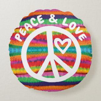 Friedens-und Liebe-Krawatten-Streifen Rundes Kissen