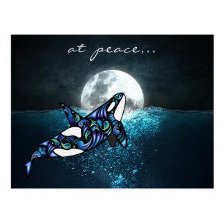 Friedens~ Vollmond-am psychedelischen Trippy Postkarte