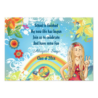 Friedensblonde Hippie-Mädchen-Abschluss-Einladung 12,7 X 17,8 Cm Einladungskarte