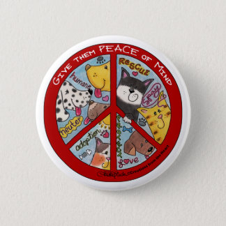 Friedensc$zeichen-tier Schutz Runder Button 5,1 Cm