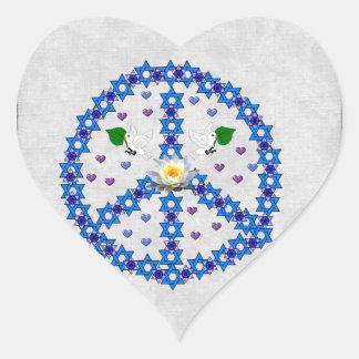 Friedensdavidsstern Herz Sticker
