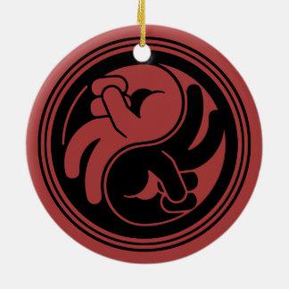 Friedenshand Yin Yang Rundes Keramik Ornament