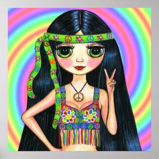 Friedensheraus Mädchenhippie-blinkendes Friedensze Poster