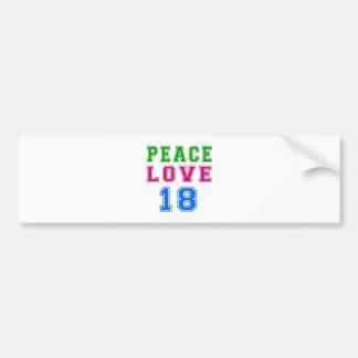FriedensLiebe 18 Geburtstags-Entwürfe Autoaufkleber