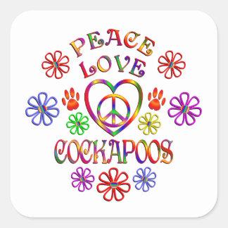 FriedensLiebe Cockapoos Quadratischer Aufkleber