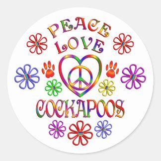FriedensLiebe Cockapoos Runder Aufkleber