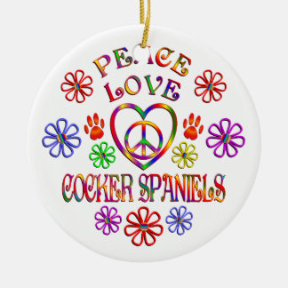 FriedensLiebe-Cockerspaniel-Spaniels Keramik Ornament