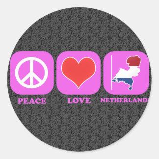 FriedensLiebe die Niederlande Runder Aufkleber