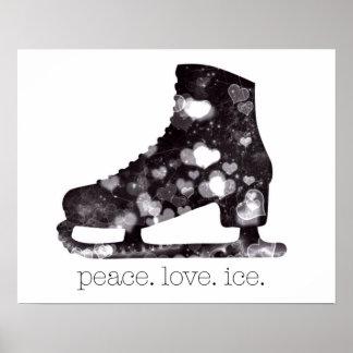 FriedensLiebe-Eis-Zahl Skaten-Kunst durch S Poster