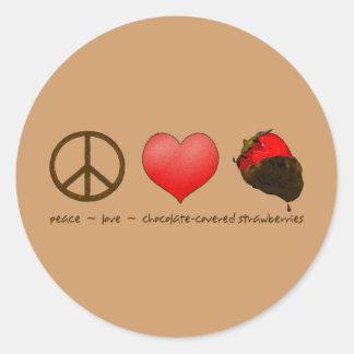 FriedensLiebe-Erdbeeren Runder Aufkleber