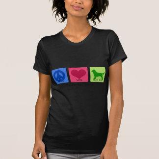 FriedensLiebe-flacher Mantel-Retriever T Shirt