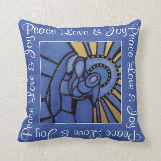 FriedensLiebe-Freude-blaues heiliges Kissen