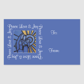 FriedensLiebe-Freude-heilige Familien-blaues Rechteckiger Aufkleber
