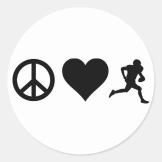 FriedensLiebe-Fußball Runder Aufkleber