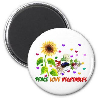 FriedensLiebe-Gemüse Runder Magnet 5,7 Cm