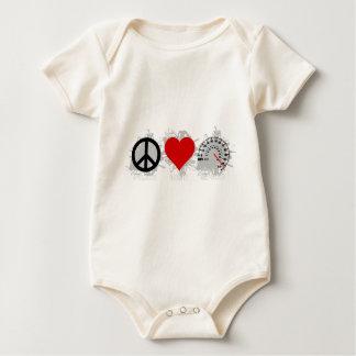 FriedensLiebe-Geschwindigkeits-Emblem 2 Baby Strampler