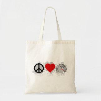 FriedensLiebe-Geschwindigkeits-Emblem 3 Tragetasche
