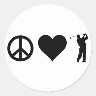 FriedensLiebe-Golf Runder Aufkleber