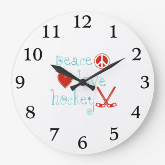 FriedensLiebe-Hockey Große Wanduhr