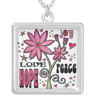 FriedensLiebe-Hoffnung und Blumen Versilberte Kette