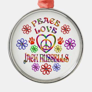 FriedensLiebe-Jack Russells Silbernes Ornament