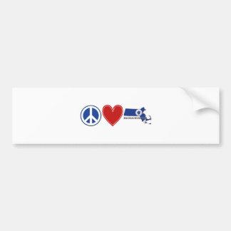 FriedensLiebe Massachusetts Autoaufkleber