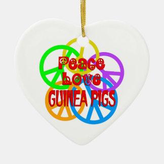 FriedensLiebe-Meerschweinchen Keramik Herz-Ornament