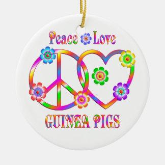 FriedensLiebe-Meerschweinchen Rundes Keramik Ornament