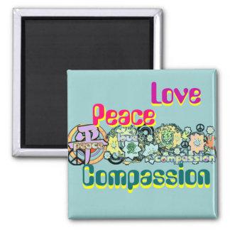 FriedensLiebe-Mitleid-Magnet Quadratischer Magnet