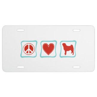 FriedensLiebe-Mops-Quadrate US Nummernschild