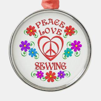 FriedensLiebe-Nähen Rundes Silberfarbenes Ornament