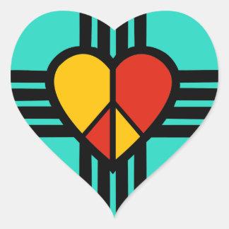 FriedensLiebe New-Mexiko Herz-Aufkleber