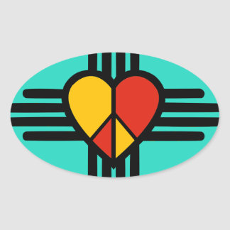 FriedensLiebe New-Mexiko Ovaler Aufkleber