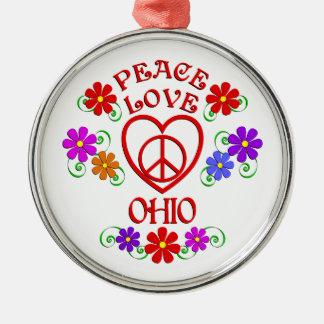 FriedensLiebe Ohio Silbernes Ornament