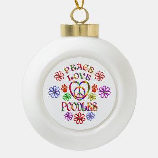 FriedensLiebe-Pudel Keramik Kugel-Ornament