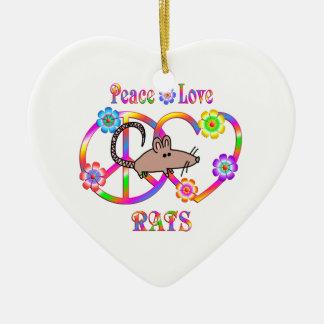 FriedensLiebe-Ratten Keramik Ornament