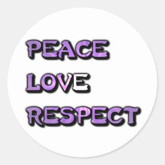 FriedensLiebe-Respekt Runder Aufkleber