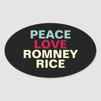 FriedensLiebe Romney Rick Oval-Aufkleber Ovaler Aufkleber