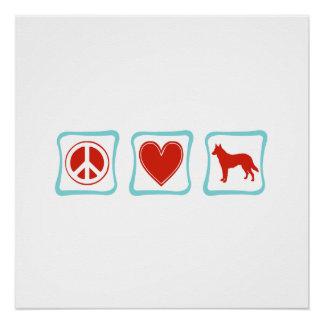 FriedensLiebe-Schäferhund-Quadrate Poster