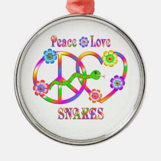 FriedensLiebe-Schlangen Rundes Silberfarbenes Ornament